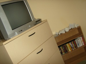 This is my TV, dresser and DVDs.